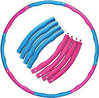 Hula Hoop The Original Foam Padded Folding Fitness Träningsbåge Viktad 1,1 kg (2,42 kg) Justerbar bredd 73-96 cm (rosa - blå)