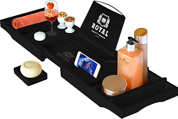 Royal Craft Wood Luxury Bathtub Caddy Tray One Or Two Person Bath And Bed Tray Bonus Free Soap Holder Black Bamboo Color