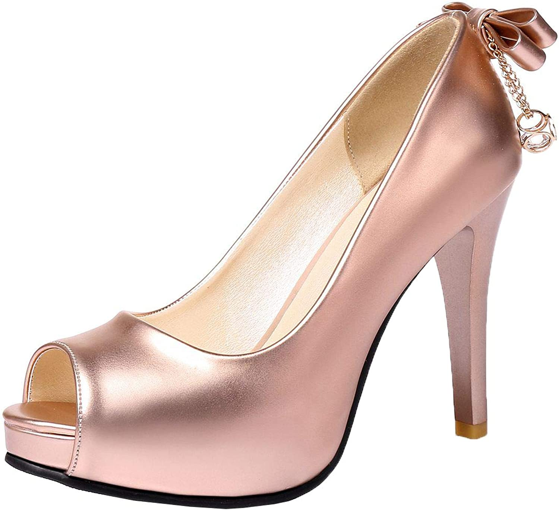 Vitalo Womens Metallic Peep Toe Pumps High Heels Stiletto Court shoes with Bow