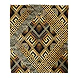 Golee Throw Blanket Modern Meander Abstract Black Gold Greek Key 3D Geometric Shapes 60x80 Inches Warm Fuzzy Soft Blanket for Bed Sofa