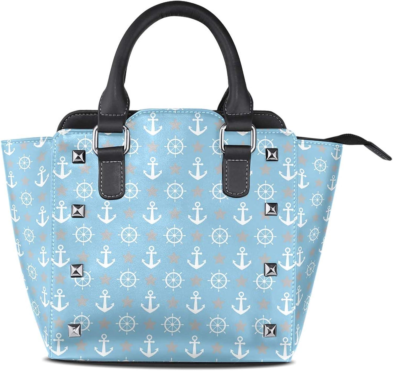 My Little Nest Women's Top Handle Satchel Handbag Anchors Rudder Stars Ladies PU Leather Shoulder Bag Crossbody Bag