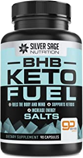 Silver Sage Nutrition Pure BHB Keto Diet Supplement Salt Pills Fuel - Beta-Hydroxybutyrate Proprietary Blend Calcium, Magn...