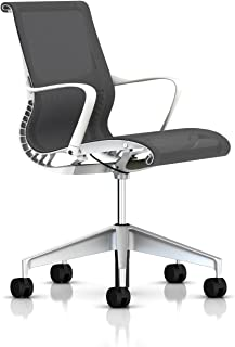 Herman Miller Setu Ergonomic Office Chair with Kinematic Spine   H-Alloy Base and Hard Floor Casters   Studio White Frame and Alpine Lyris Fabric