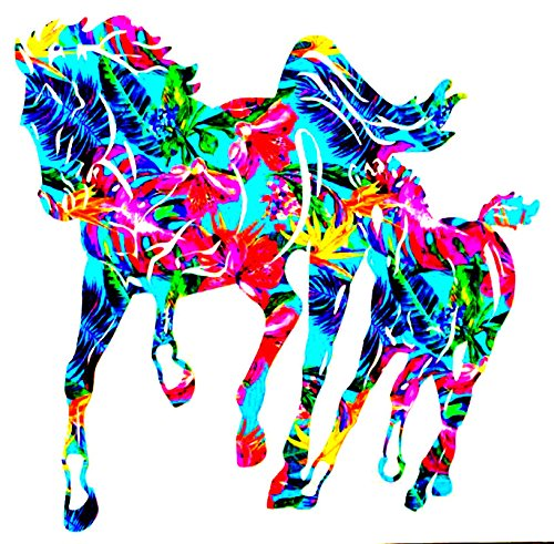 Horse and Foal Vinyl Decal Sticker Die Cut - FREE SHIPPING - Custom Car Window Laptop Tumbler Water Bottle Bumper - You Choose Size and Color