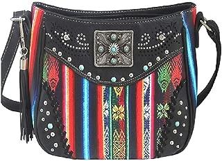 Aztec Serape Tassel Fringe Concho Concealed Carry Messenger Bag Purse Black Jp