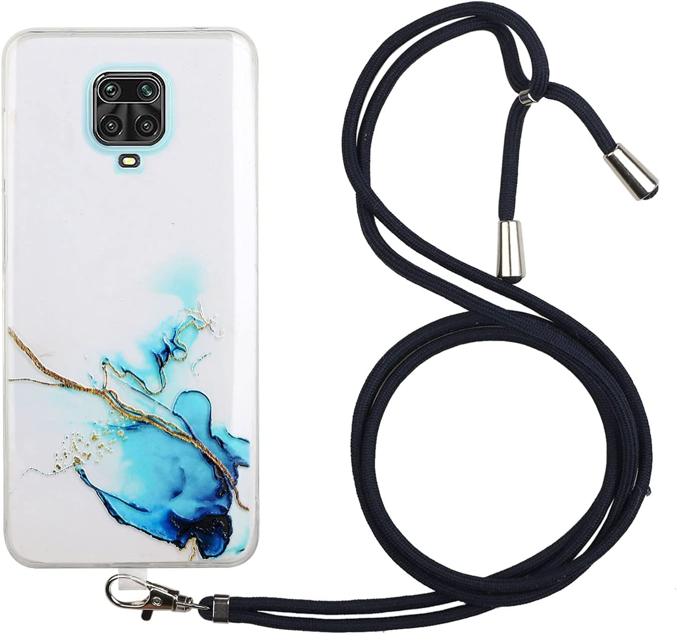 Lanyard Case Compatible with Xiaomi Redmi Note 9S/9 Pro/9 Pro Max, KASOS Marble Design Flexible Clear Cover with Neck Cord Strap Transparent Silicone Adjustable Necklace Rope Crossbody Case (Blue)