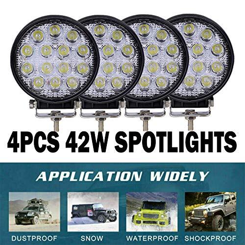 4PCS 42W Faro Trabajo Led, Focos LED Tractor 12V Ronda para Tractores Luz de Niebla Coche, Tractor, SUV, UTV, ATV, Off-road, Camión, Barco,Moto