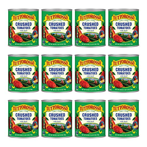 Tuttorosso Crushed Tomatoes with Basil, Gluten Free and Vegetarian Recipe, 28 Ounce Cans, 12-Pack