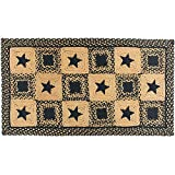 IHF Braided Rectangle Area/Accent Rug Applique Country Star Black for Sale