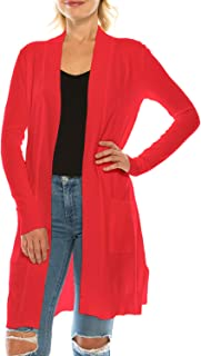 Women's Long Sleeve Soft Open Front Sweater Knit Duster Cardigan with Pockets