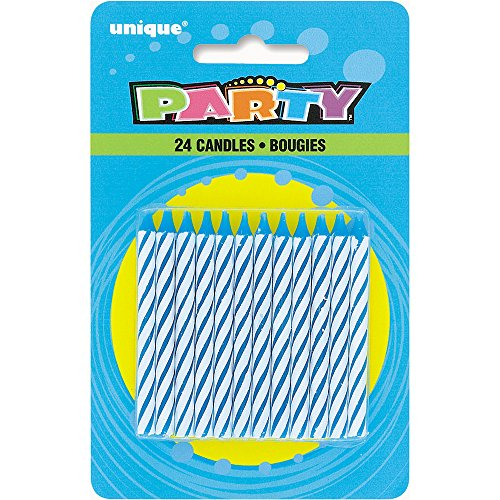 Unique Party 1905BC - Striped Blue Birthday Candles, Pack of 24