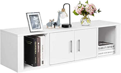 wholesale Giantex sale Wall Mounted Storage Cabinet 2 Cube Floating Media Hanging Desk W/2 Doors and 2 Open Shelves, Home Office Furniture for Kitchen, Bathroom, Living Room Floating Console wholesale Hutch (White) outlet online sale