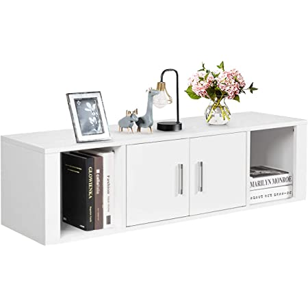 Giantex Wall Mounted Storage Cabinet 2 Cube Floating Media Hanging Desk W 2 Doors And 2 Open Shelves Home Office Furniture For Kitchen Bathroom Living Room Floating Console Hutch White Furniture