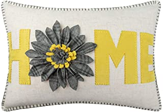 JWH 3D Sunflower Accent Pillow Case Wool Handmade Cushion Cover Decorative Stereo Pillowcase Home Bed Living Room Office Chair Couch Decor Gift 14 x 20 Inch Linen Yellow Gray Plaid