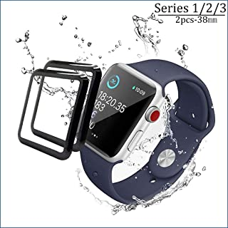 Apple Watch Screen Protector 38mm [2Pack] 3D Tempered Glass Full Coverage,Scratch Resistant Waterproof Tempered Glass Film for Apple Watch 38mm Series 1/2/3