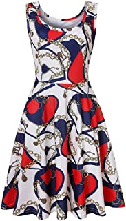 Women's Dresses, Printed Dress 2019 Summer Round Neck Sleeveless Dress Beach Party Travel Holiday