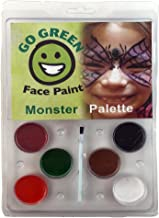 Go Green Face Paint - 6 Washable - Non Toxic Water Based Painting Kit for Kids with The Highest Safety Rating - Works Well with Brushes and Stencils on Many Faces for Halloween and Parties.