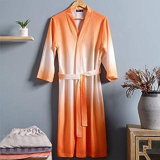 STJDM Nightgown,Kimono Gown Male Bathrobe Print Soft Nightwear Oversize Sleepwear Waffle Nightgown Home Clothes Casual Hom...