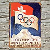 Henson 1928 Winter Olympics St. Moritz Switzerland Traditional Vintage Tin Sign Logo 12 * 8 Advertising Eye-Catching Wall Decoration