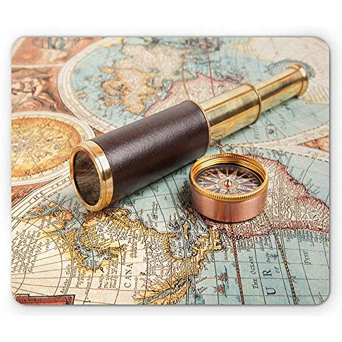 Compass Mouse Pad, Foto van Explorer Tools Nostalgische Messing Telescoop op Oude Antieke Wereld Kaart, Antislip Rubber Mousepad muismat