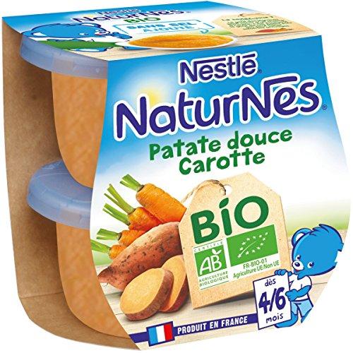 NESTLE NATURNES BIO Petits Pots Bébé Patate Douce Carotte - Dès 4/6mois - 2x130g - Pack de 12 (24 Pots)