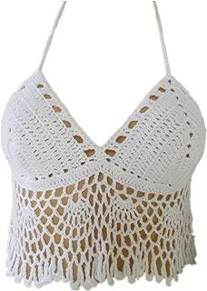 Black Bikini Halter Top Handmade Crochet Crop Top