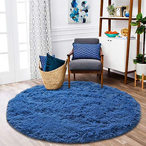 ISEAU Fluffy Round Rug Carpets, Modern Shaggy Circle Rug for Kids Bedroom Extra Comfy Cute Nursery Rug Small Circular Carpet for Boys Girls Room Home Decor Area Rug, 4ft Rugs, Light Navy