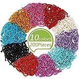 200 Piezas Cadena de Bolas de Metal Cadena de Collar de Bolas de Varios Colores con Conectores para Etiquetas de Cadena, Llavero, Resultados de Joyería, Proyectos Artesanales