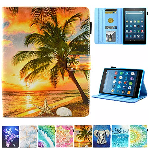 Kindle fire 7 Case - JZCreater Slim Leather Smart Case Cover with Auto Wake/Sleep for Amazon Fire 7 Tablet(7inch Display 5th Generation 2015 & 7th Generation 2017 & 9th Gen 2019), Sunrise