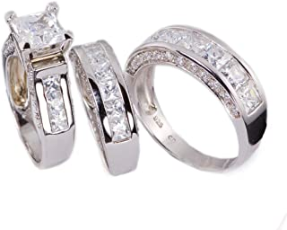 Sunee Jewelry And Gift 3pc His & Hers Princess Cut Cubic Zirconia Wedding Engagement Set Bridal Rings 925 Sterling Silver