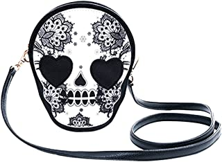 KINGSEVEN Stylish Skull Pattern Purse Shoulder Crossbody Bag Handbag Purse for Women