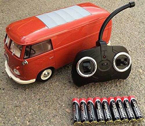 BUSDUGA RC ferngesteuert VW Bulli 1962 T1 - 1:18 RTR , komplett-Set , Licht inkl. Fernsteuerung - DER Klassiker ! Bus oder Transporter, Farbe wählbar. (Transporter - ROT)