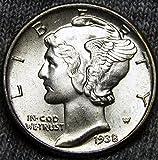 1938 Gem Brilliant Uncirculated Silver Mercury Dime Choice BU