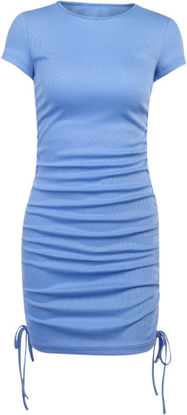 Party Basic Dress Ladies Short Sleeve Ladies Pure Color Skinny Stretch Mini Dress O Neck Casual Slim Pencil Short (Color : Blue, Size : Medium)