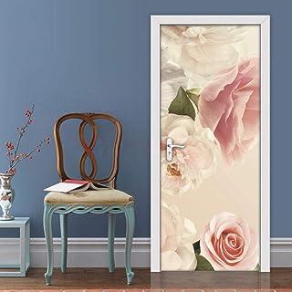 Sticker Porte Autocollant De Porte Auto-Adhésif Rose Papier Peint Diy Décoration De La Maison Affiche Murale