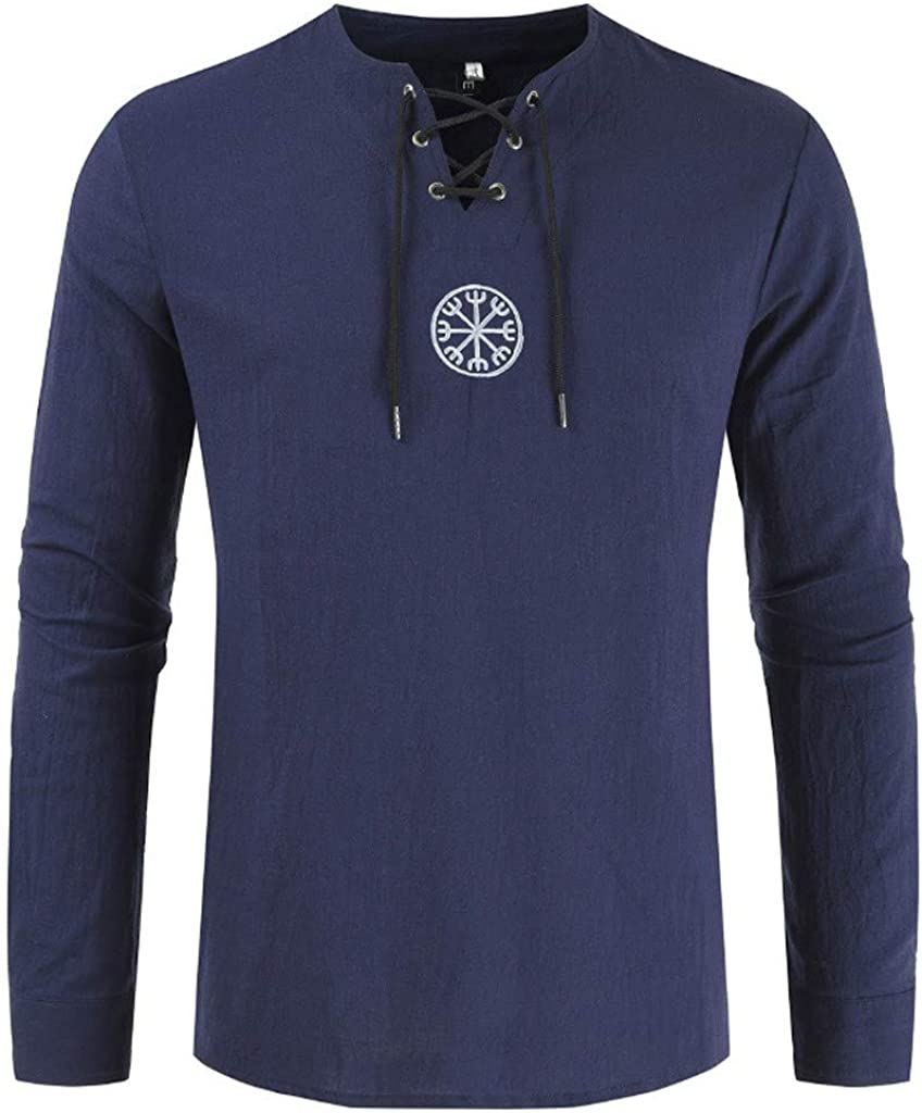 Mens Casual Slim Fit Henley Shirts Cotton Linen Basic Tee Hippie Shirt Henley V-Neck Beach Yoga Tops Big and Tall