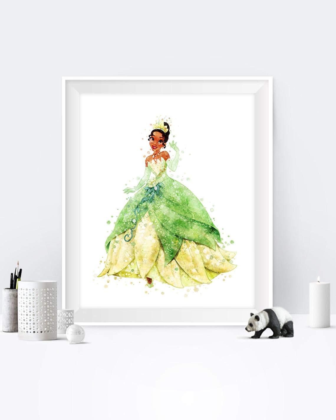 Princess Tiana Art Print Watercolor Disney Arlington Mall Pri Wall Spring new work