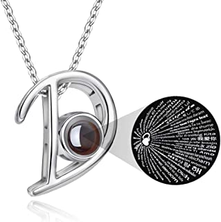M MOOHAM Initial Necklace for Women - 26 Initial Letters Alphabet I Love You 100 Language Personalized Charm Pendant Neckl...