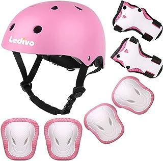 کلاه ایمنی قابل تنظیم کودکان و نوجوانان Ledivo مناسب برای سنین 3 تا 8 سال دختران پسر نوپا ، دنده های محافظ ورزشی مچ بند آرنج زانو برای دوچرخه دوچرخه اسکیت بورد غلتک