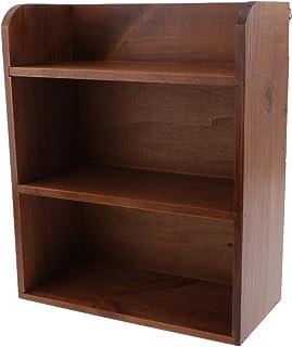 Dolity Wooden Storage Unit Wall Cube Organizer Rack Bonsai Plants Display Wooden Shelf Holder - Wine Red, 25x11.5x30.7cm