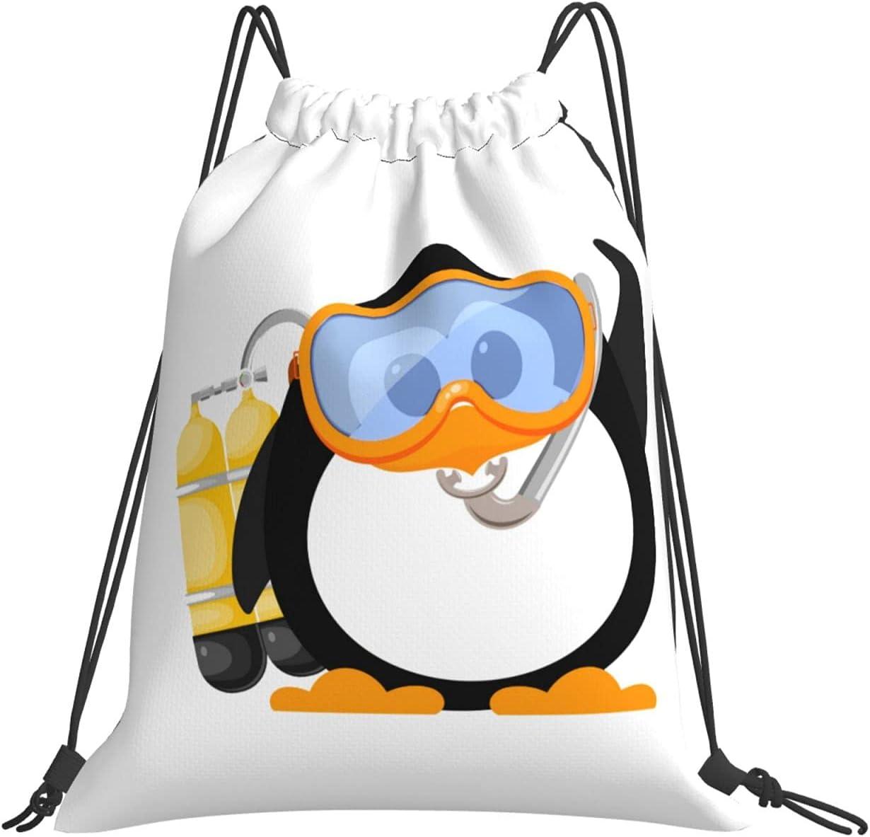 Diving Cartoon Penguin Drawstring Backpack Sports New York Mall Gym Bag Manufacturer direct delivery H Yoga
