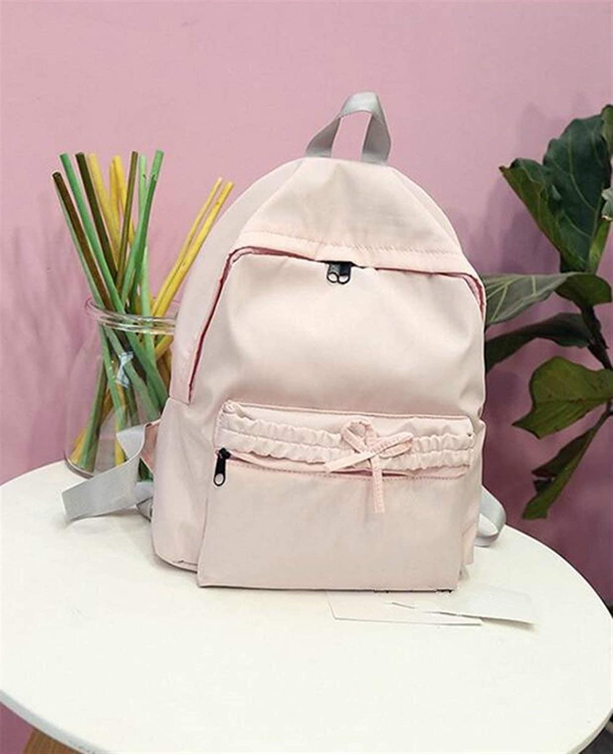 JINQD HOME Personality Backpacks Pure color Bowknot Fashion Small Traveling Backpack Student Schoolbag (color   Pink)