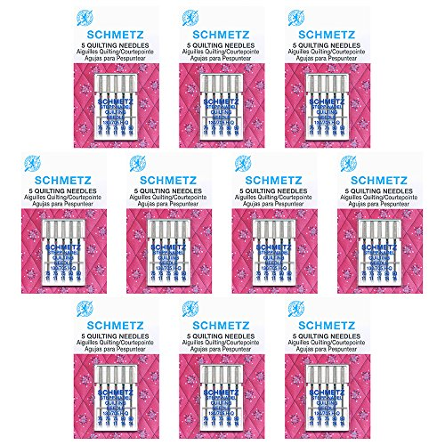 50 SchmetzQuilting Sewing Machine Needles -Assorted sizes- Box of 10 cards