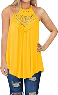 Womens Summer Casual Sleeveless Tops Lace Flowy Loose Shirts Tank Tops