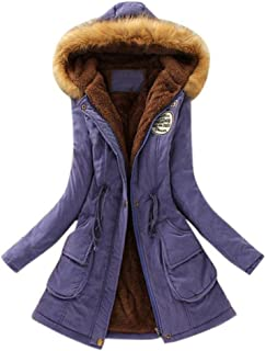 Winter Women Warm Long Sleeve Coat Faux Fur Collar Hooded Zipper Button lace Up Parka Outwear