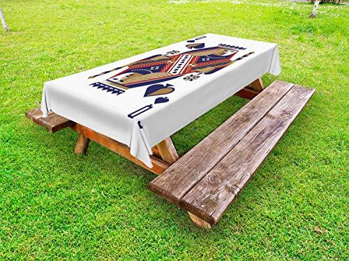 ABAKUHAUS Poker Tafelkleed voor Buitengebruik, Modern Retro Schoppenvrouw, Decoratief Wasbaar Tafelkleed voor Picknicktafel, 58 x 104 cm, Wit en Multicolor
