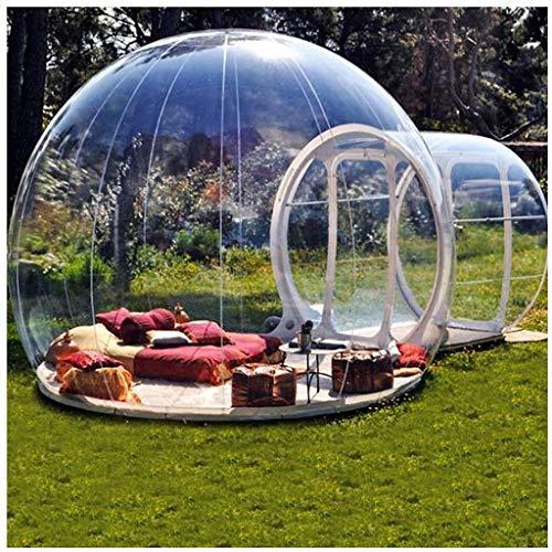 QMZDXH Transparent Viewing 360° Dome Inflable Carpa de Burbujas para Acampar Al Aire Libre con 2m de Túnel Simple y Ventilador para Acampar Al Aire Libre