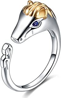 Ztuo Women 925 Sterling Silver Copper Zircon Animal Chinese Zodiac Symbol Ring Band Best Gift for Girl