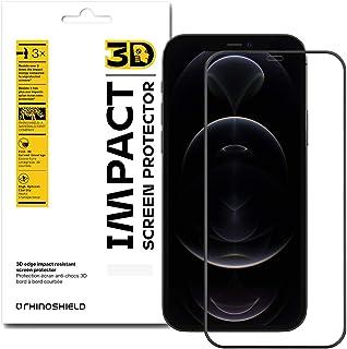 RhinoShield 3D 耐衝撃画面保護フィルム [iPhone 12 Mini] | 保護されていない画面の3倍の衝撃に耐える - 3Dエッジで隅まで保護 - 傷にも強い - ブラック