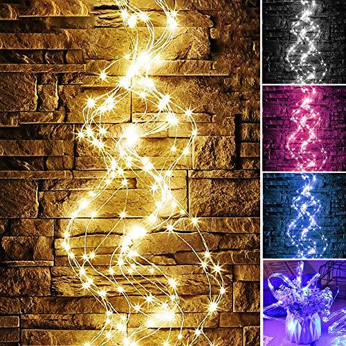 Feli546Bruce Lichterkette, wasserdichte 100/200 LEDs, Kupferdraht, Lichterkette, Hochzeit, Party, Dekoration, Vorhang-Lichter für Party, Geburtstag, Weihnachten, Hochzeit, Tischdekoration